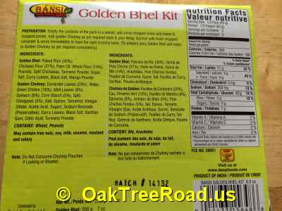 Bansi Golden Bhel Nutrition image © OaktreeRoad.us