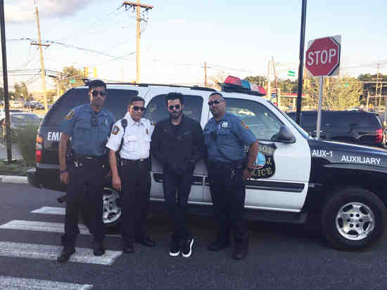 Edison Police Dept Auxiliary Police Officers with Anil Kapoor image © OakTreeroad.us