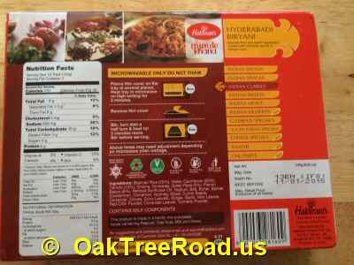 Haldiram Hyderabadi Biryani Nutrition image © OaktreeRoad.us