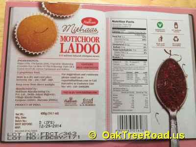 Haldiram Motichoor Ladoo Nutrition image © OaktreeRoad.us