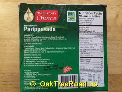 Maharani Choice Parippuvada Nutrition image © OaktreeRoad.us
