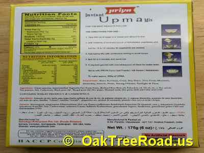 Priya Upma Mix Nutrition image © OaktreeRoad.us