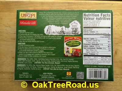 Udupi Masala Idli Nutrition image © OaktreeRoad.us